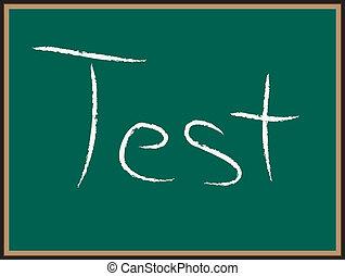 teszt, chalkboard, szavak