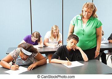 teszt, lehallgat, tanár, standardized
