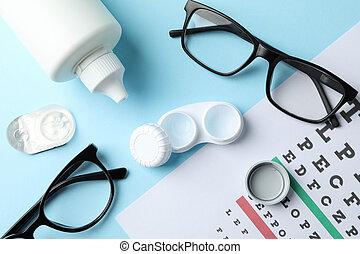 teszt, lencsék, háttér, szemüveg, tető kilátás, szem, kék, diagram, érintkezés