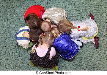 tető, gyerekek, játék, kilátás