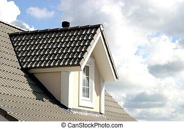 tető, közül, épület