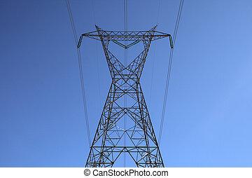 tető, közül, a, nagy, villanyáram villanyoszlop