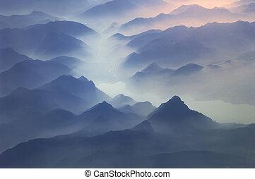 tető, közül, hegyek, alpok