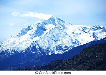 tető, közül, hegyek
