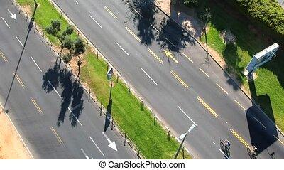 tető kilátás, közül, bicikli, lovasok, csoport, képben látható, főútvonal