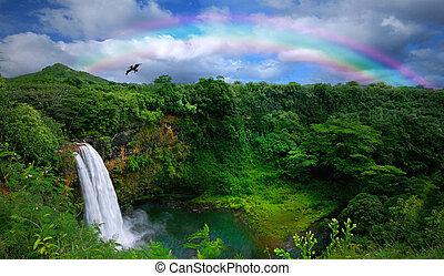 tető kilátás, közül, egy, gyönyörű, vízesés, alatt, hawaii