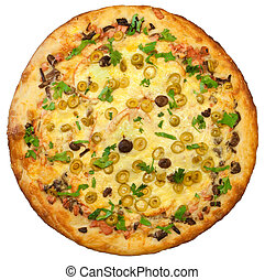 tető kilátás, közül, elszigetelt, pizza