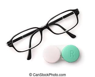 tető kilátás, közül, szemüveg, és, szem kontaktlencse,...