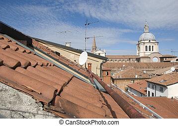 tető, kupola, történelmi, olasz