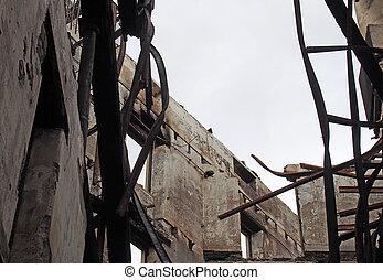 tető, meggörbült, belső, ipari épület, bukott, mestergerenda, ég, közfal, összeomlás, nyílik, lerombol