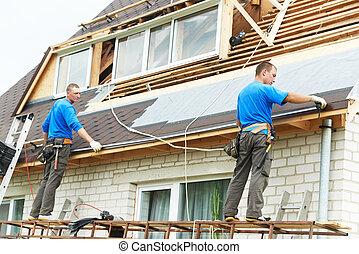 tetőszerkezet, munka, noha, hajlít, tető