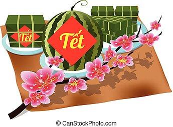 """""""tet"""", carrée, vietnamien, lunaire, visqueux, cuit, year., ..."""