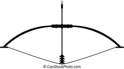 teteven, 伸ばされる, 矢, 弓