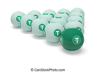 Tether. Billiard balls with the image of cryptocurrency.