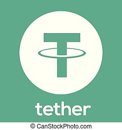 Tether (USDT) blockchain digital money cryptocurrency vector green white logo