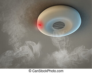 teto, dar, alarme, fume detector, detects