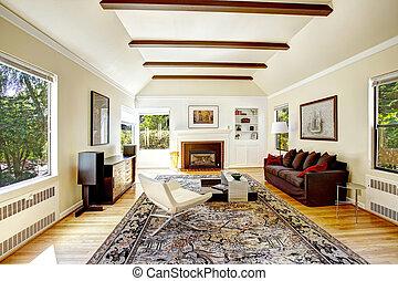 teto vaulted, com, marrom, vigas, em, sala de estar