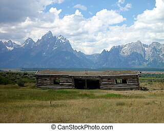 Teton Homestead - An old settlers home in the Teton Range.