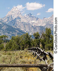 Teton Rustic Fence - A rustic fence leads to the peaks of...