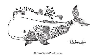 tetovál, boldog, whale.