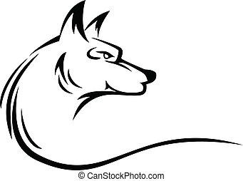 tetovál, fej, farkas