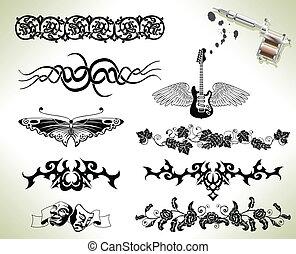 tetovál, fellobbant, tervezés elem