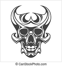 tetovál, koponya, törzsi, -, elszigetelt, tervezés, fehér