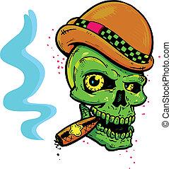tetovál, mód, koponya, szivar, vacak, dohányzó, kasfogó