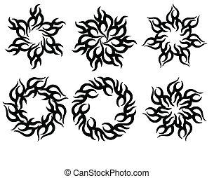 tetovál, nap, láng, törzsi, tervezés