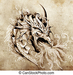 tetovál, skicc, elbocsát, sárkány, düh, fehér, művészet