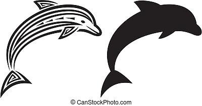 tetovál, törzsi, delfin, tervezés