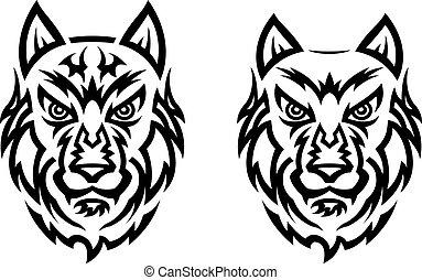 tetovál, törzsi, farkas