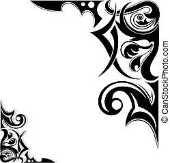 tetovál, törzsi, grafikus, kasfogó