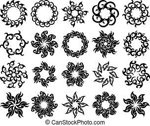 tetovál, törzsi, gyűjtés, láng, nap, tervezés