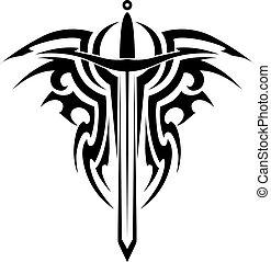 tetovál, törzsi, középkori, kard