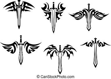 tetovál, törzsi, kard, tőrök