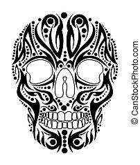 tetovál, törzsi, koponya, vektor, művészet