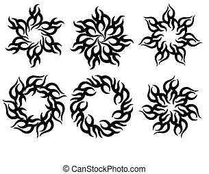 tetovál, törzsi, láng, nap, tervezés
