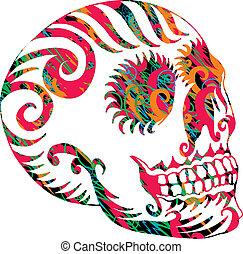 tetovál, törzsi, mexikói, koponya, vektor, művészet