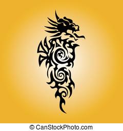 tetovál, törzsi rajzóra, sárkány