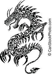 tetovál, törzsi, vektor, ikonszerű, sárkány
