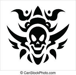 tetovál, törzsi, vektor, -, koponya