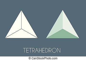 Tétraèdre platoniquement solide. Vecteur De Géométrie Sacrée.