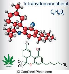 Tetrahydrocannabinol (THC) - structural chemical formula and...