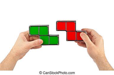 tetris, おもちゃのブロック, 手