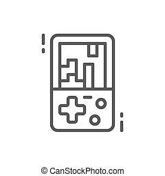 Tetris, electronic brick game line icon.