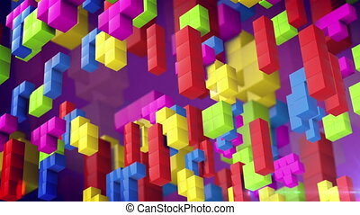 """Tetris game."" - ""Tetris game. Beautiful backdrop with 3d..."
