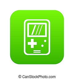 Tetris icon digital green for any design isolated on white illustration