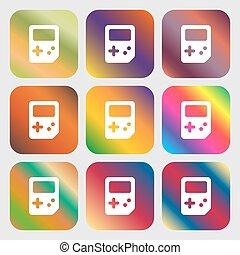 tetris, icon., dziewięć, pikolak, z, jasny, gradients, dla, piękny, design., wektor