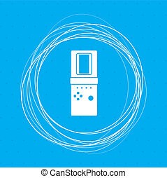 Tetris icon on a blue background with abstract circles around and place for your text.
